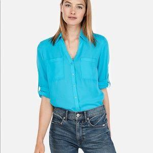 Express The Portofino Shirt - Teal Button Down Top
